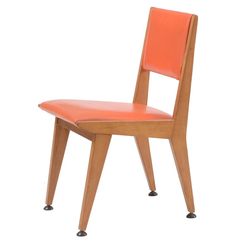 Orange Vinyl Upholstered Side Chair