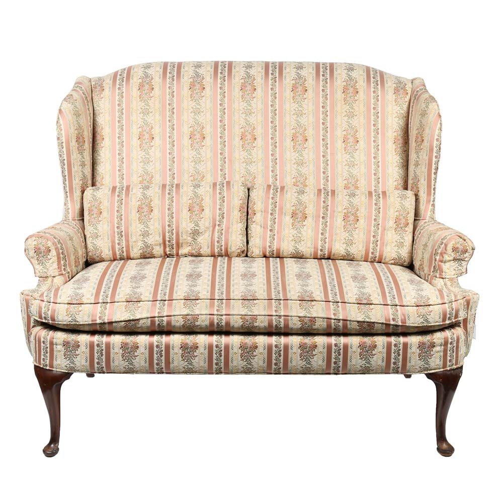 Charmant Vintage Silver Craft Upholstered Settee ...