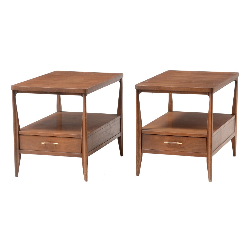 Pair of Mid Century Modern Walnut End Tables