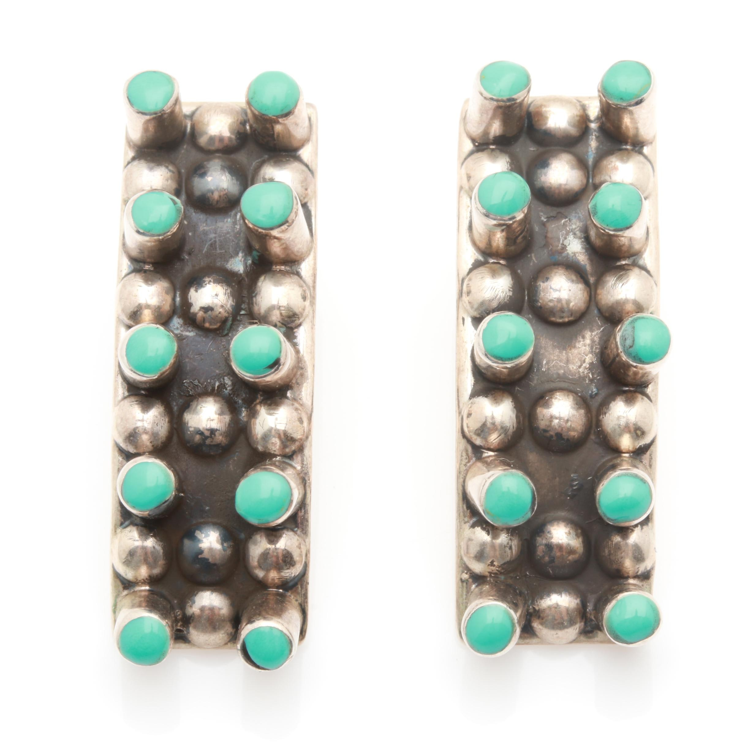 Sterling Silver Turquoise Rectangle Earrings