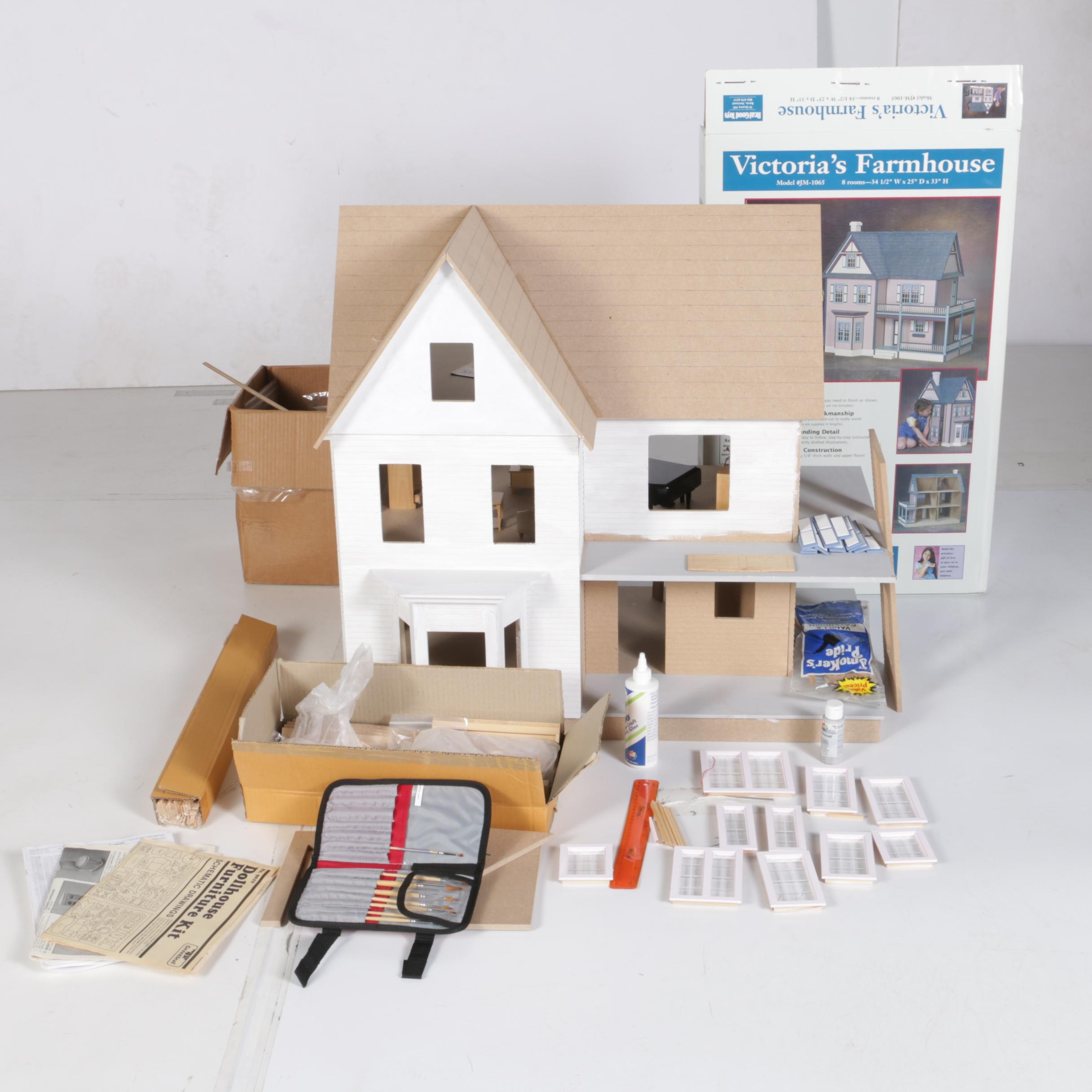 Partially Assembled Victoria S Farmhouse Dollhouse Ebth