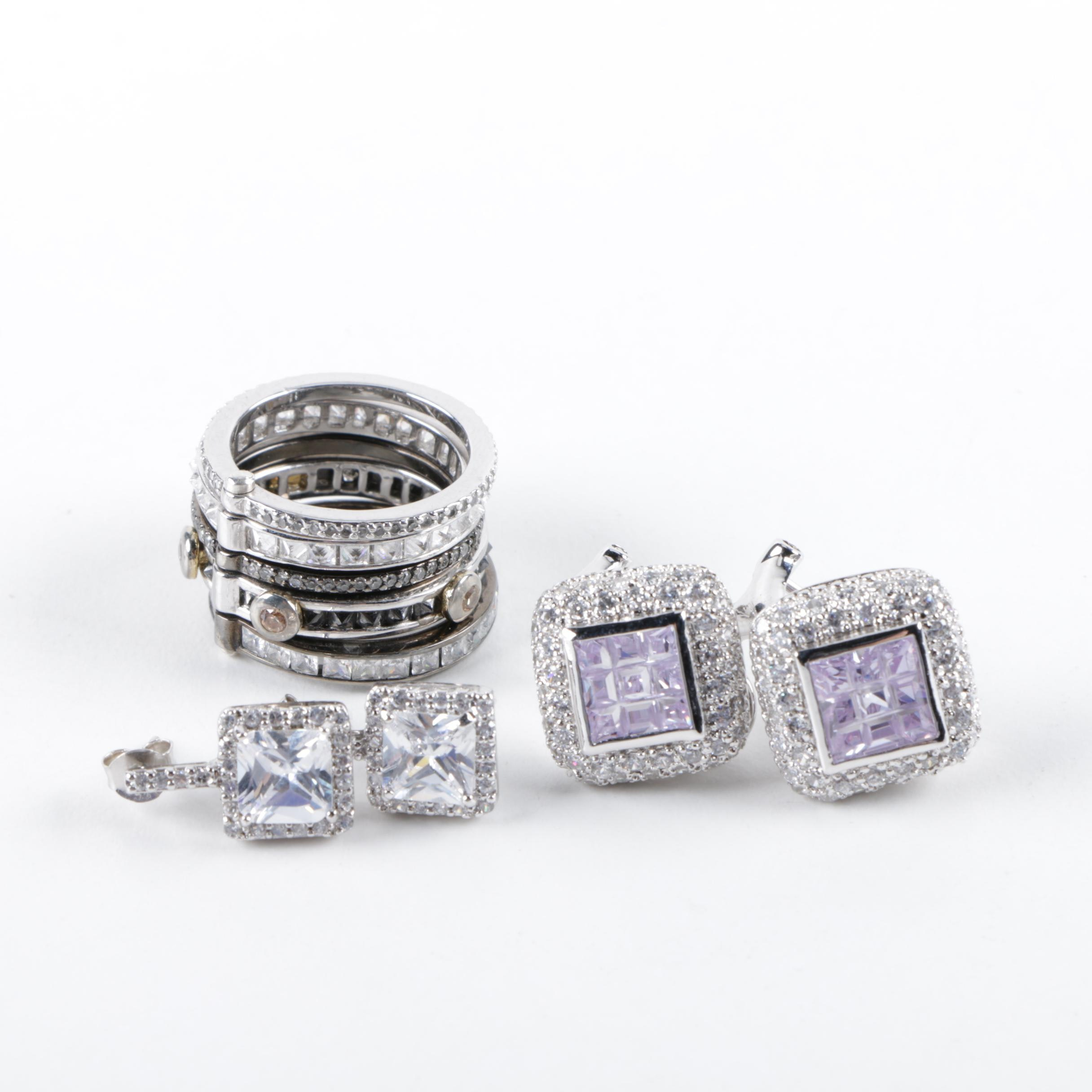 Sterling Silver Jewelry Assortment Including Cubic Zirconia