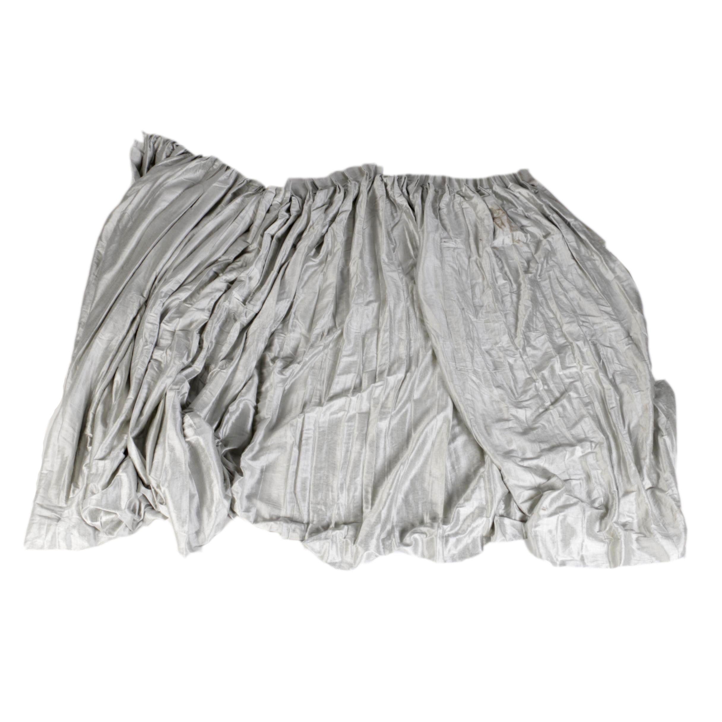 Custom Silver Gray Pinch Pleat Drapery Panel With Rod