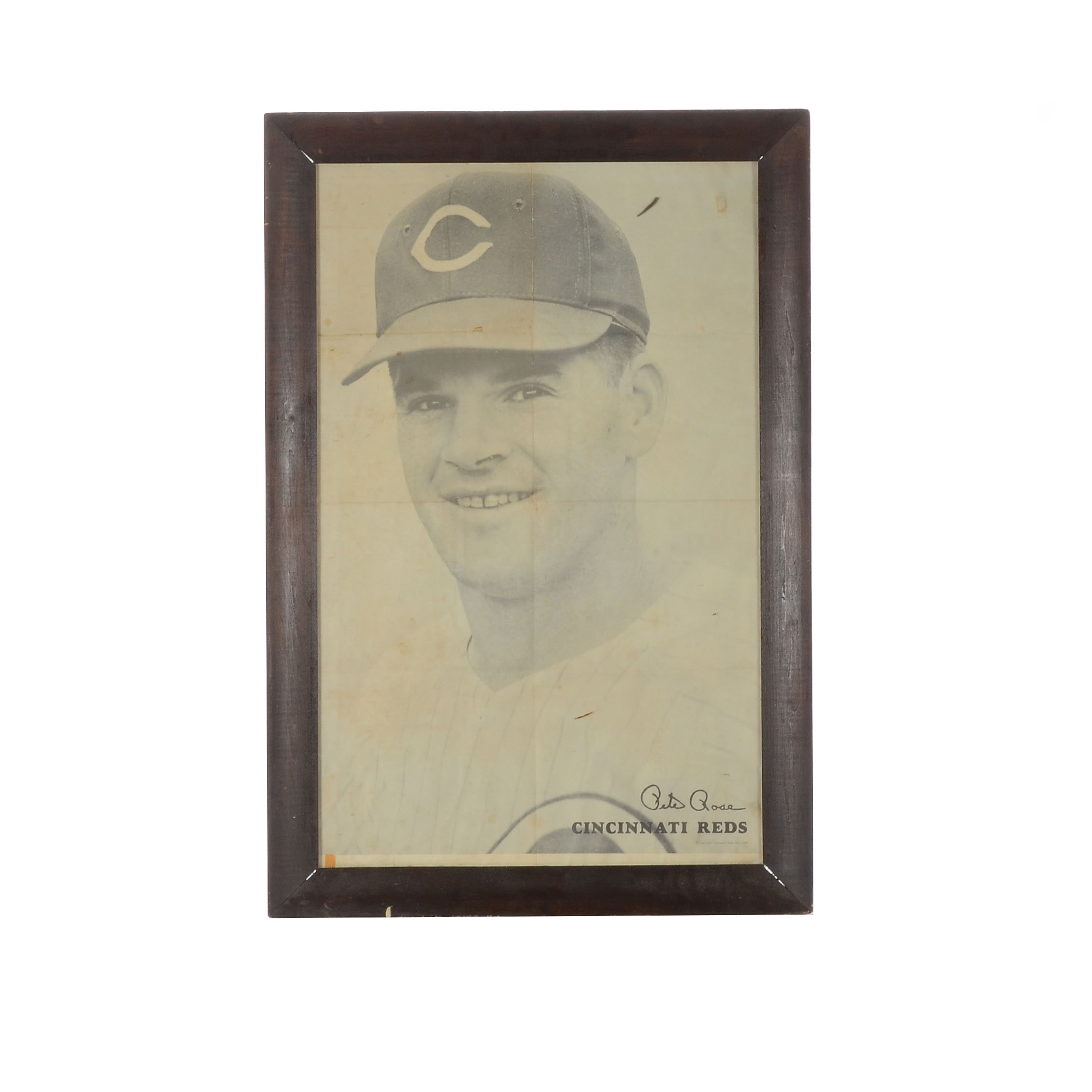 1969 Pete Rose Black and White Over-Sized Framed Poster