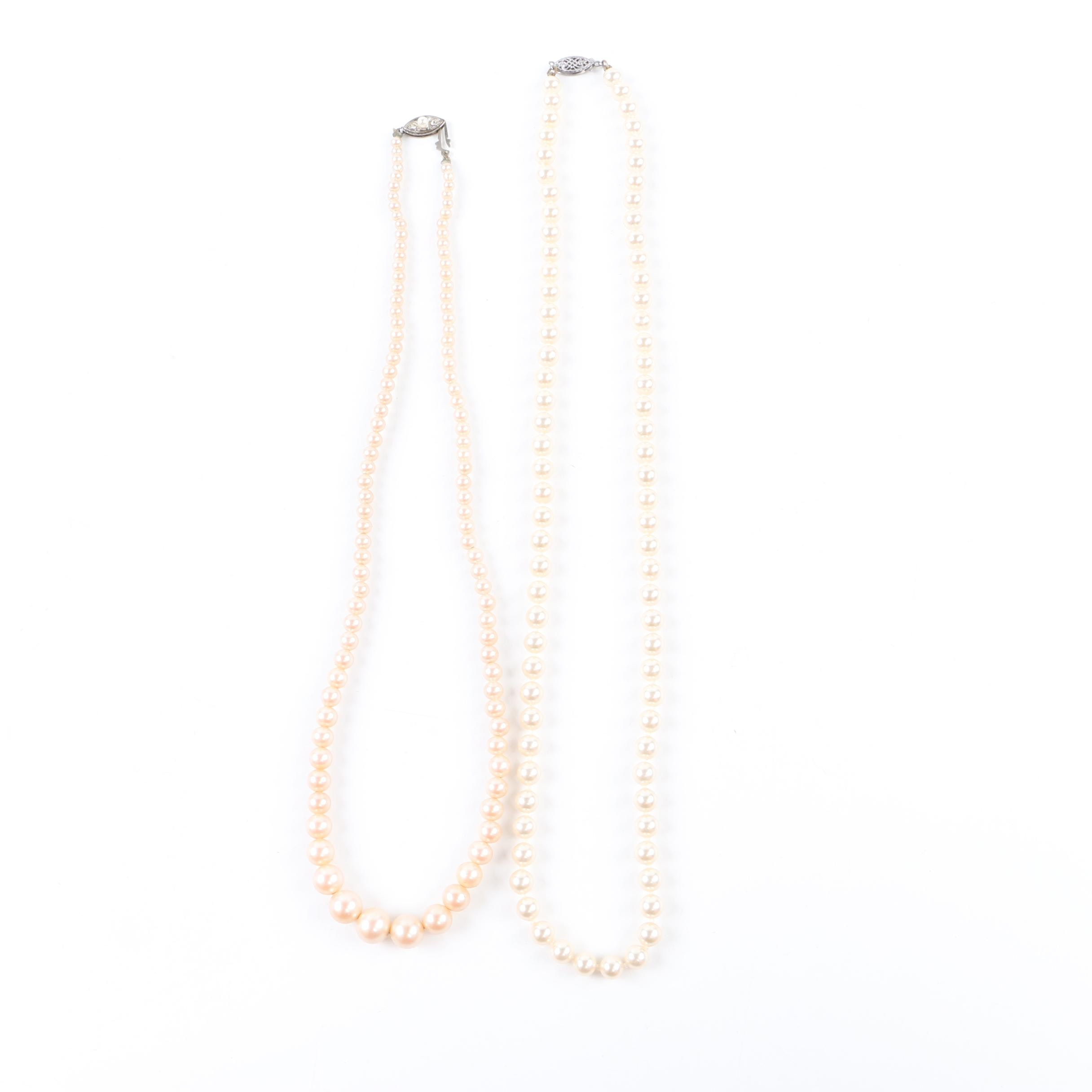Sterling Silver Imitation Pearl Necklace and Earring Selection