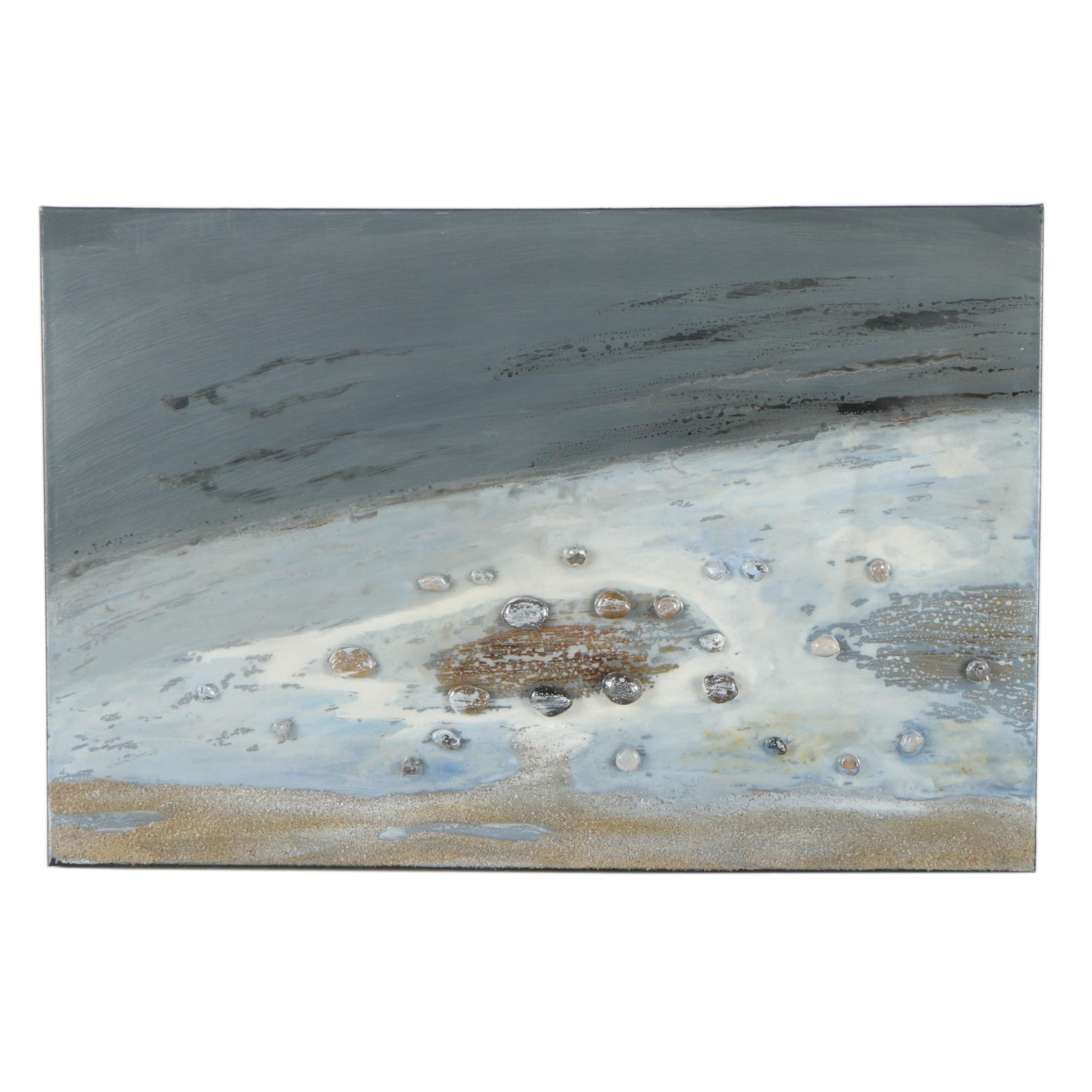 """Mixed Media Painting with Stones and Sand """"Pebbles on the Beach II"""""""