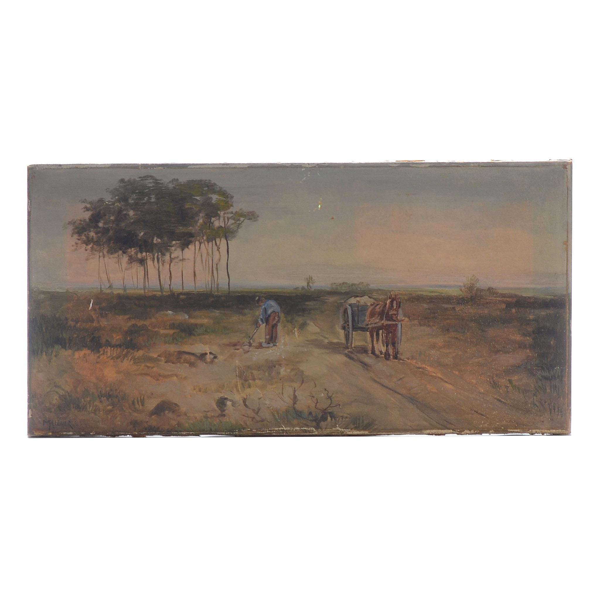 Mellher Vintage Oil on Canvas Rural Landscape Painting