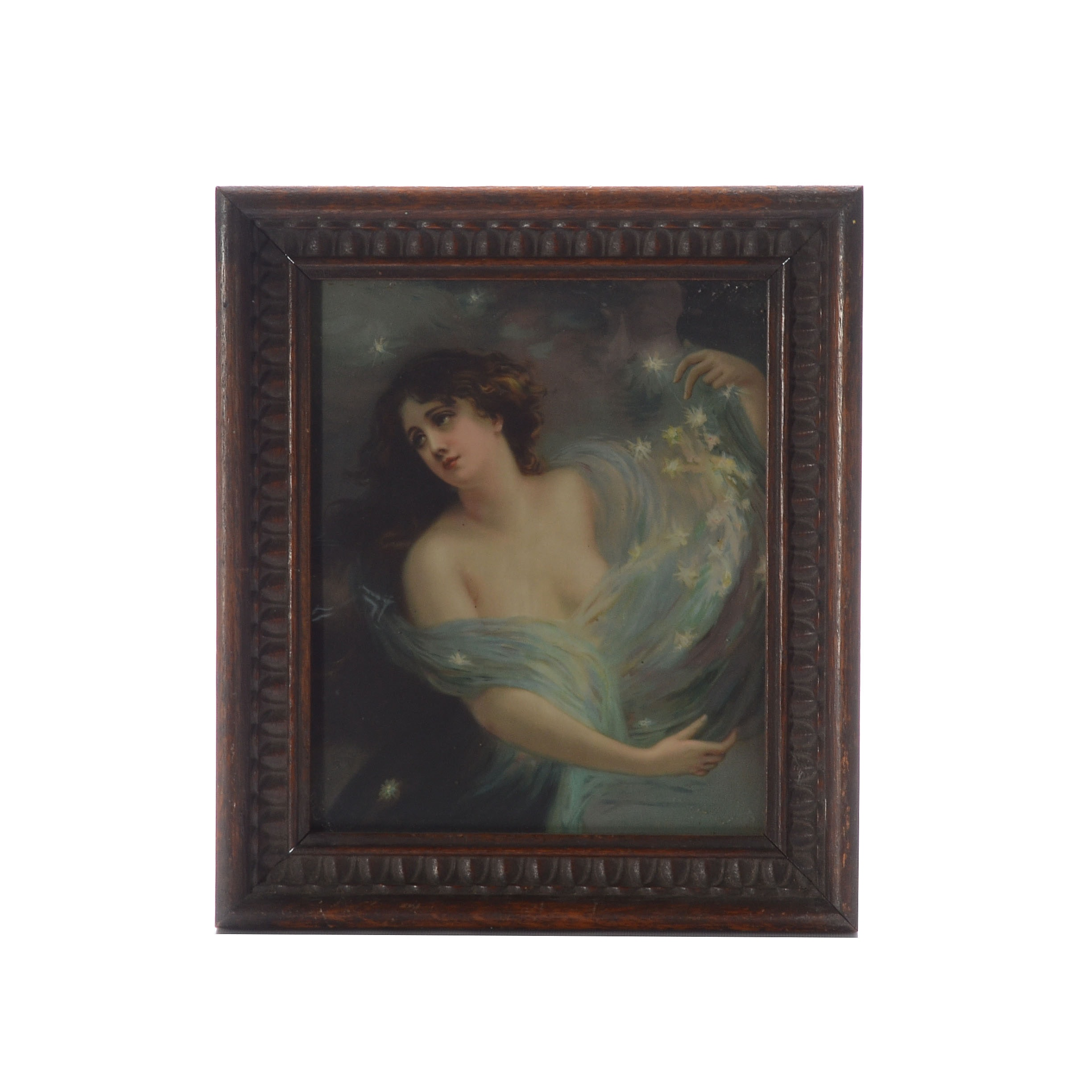 """Chromolithograph After Édouard Bisson's """"Night"""" in Antique Carved Wooden Frame"""