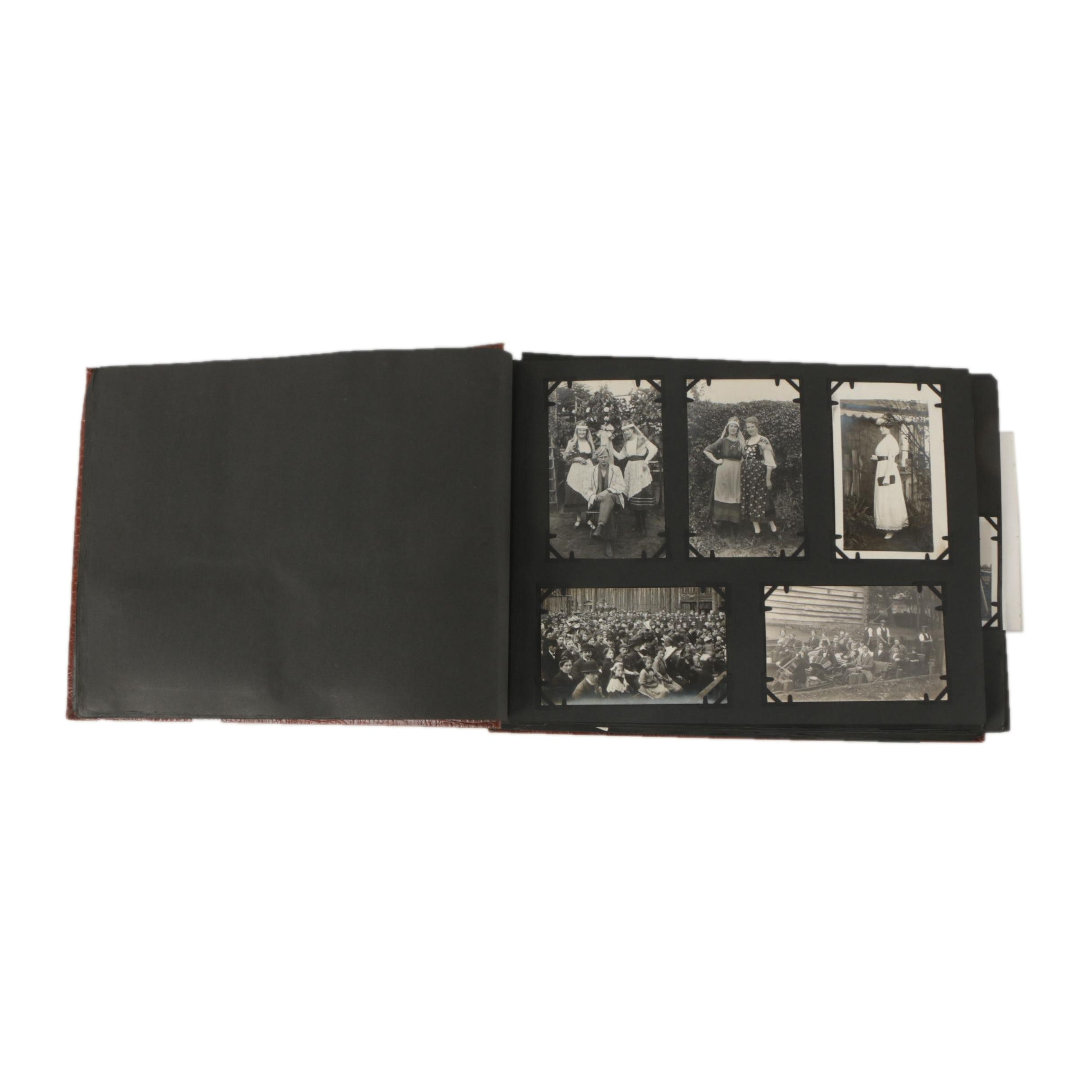 Vintage Black and White Photographs in Leather Folio