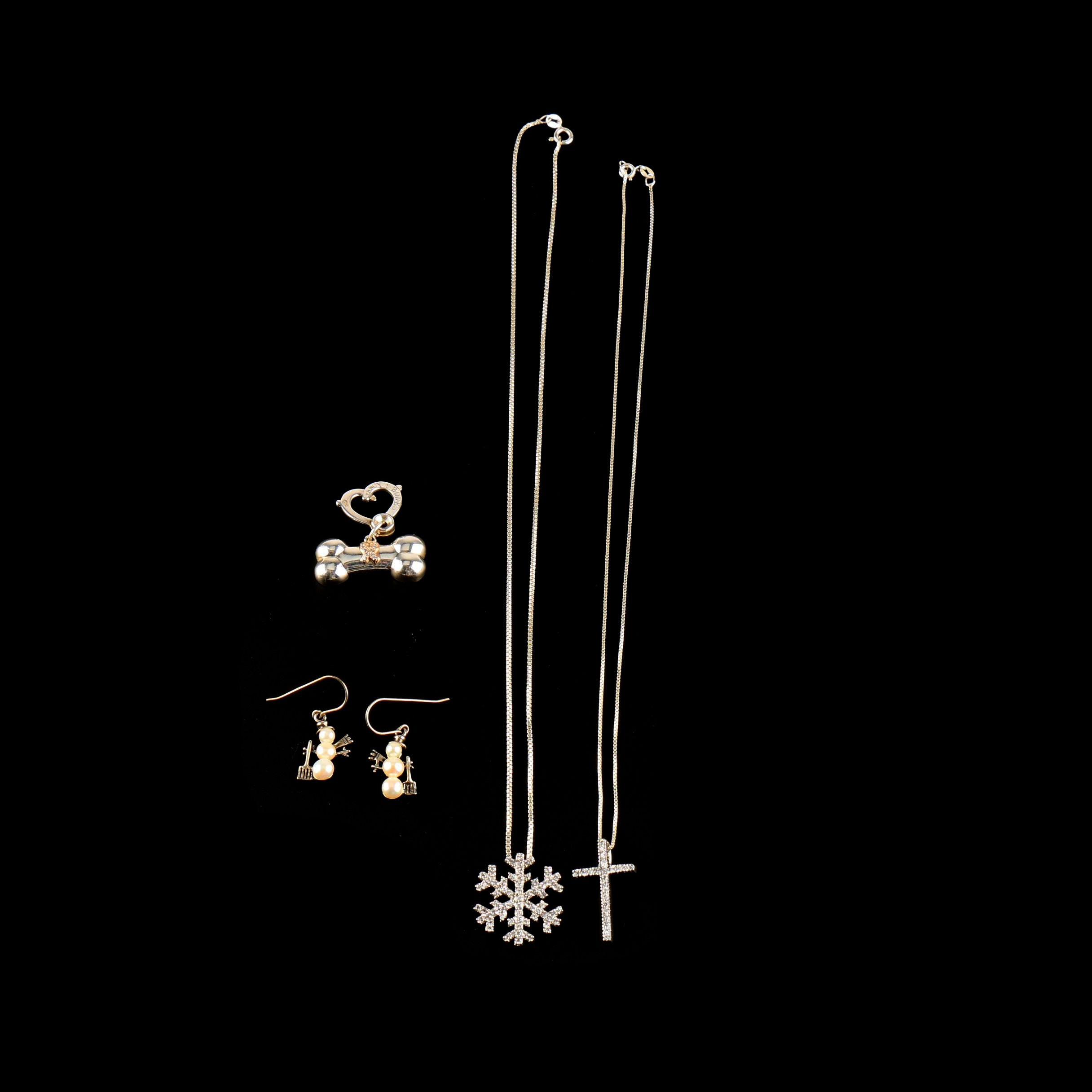 Assortment of Sterling Silver Cubic Zirconia and Cultured Pearl Jewelry
