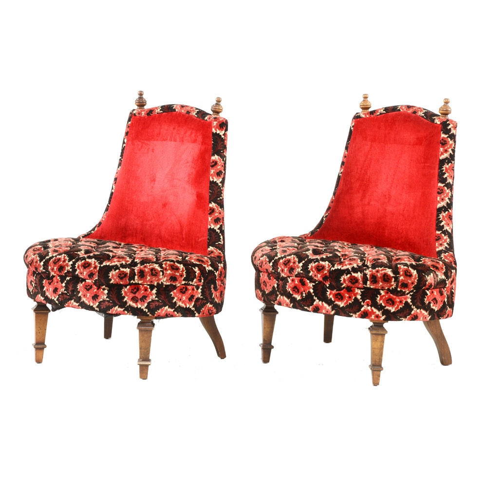 Pair of Vintage Red Floral Lounge Chairs