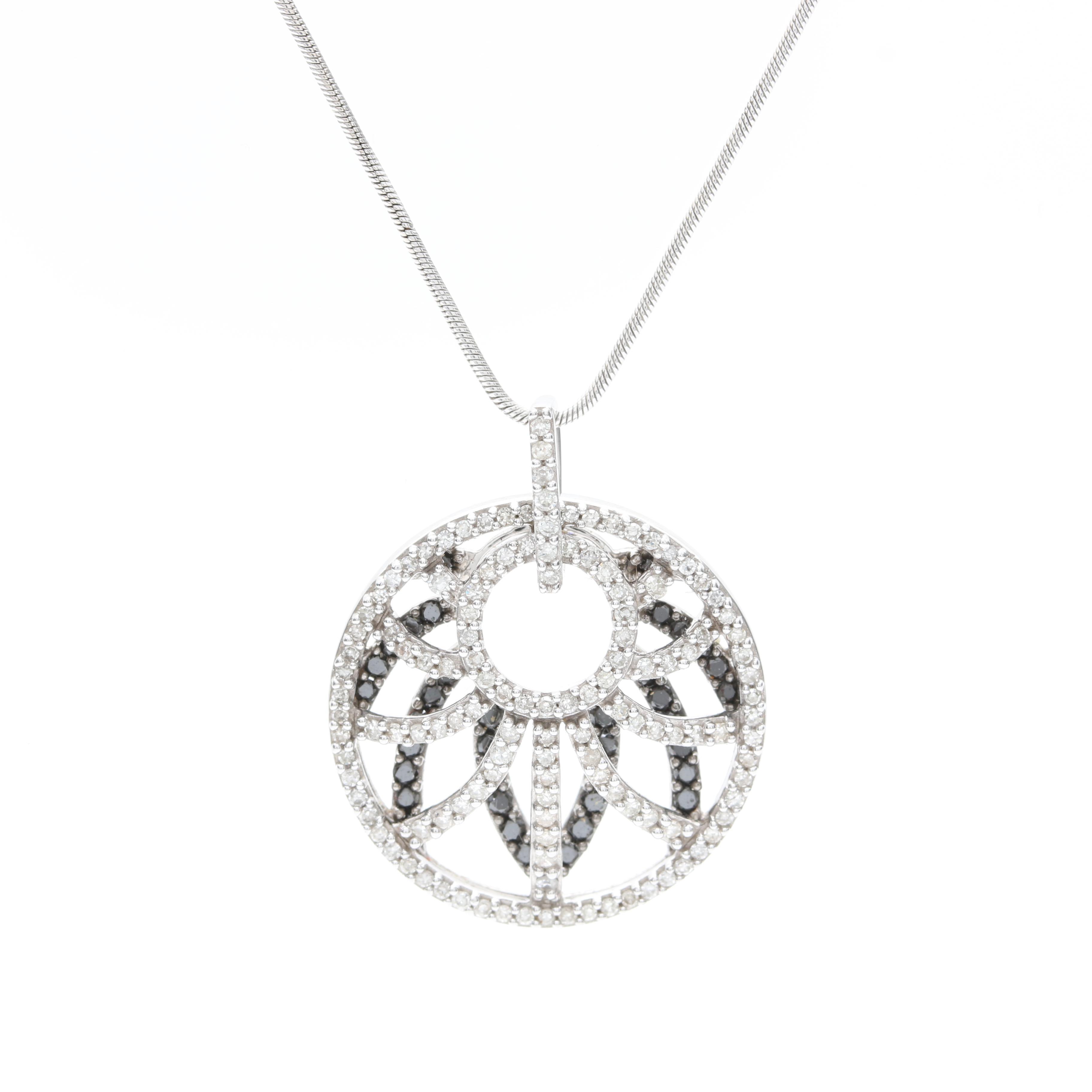 14K White Gold Openwork Diamond Pendant Necklace With Black Diamonds