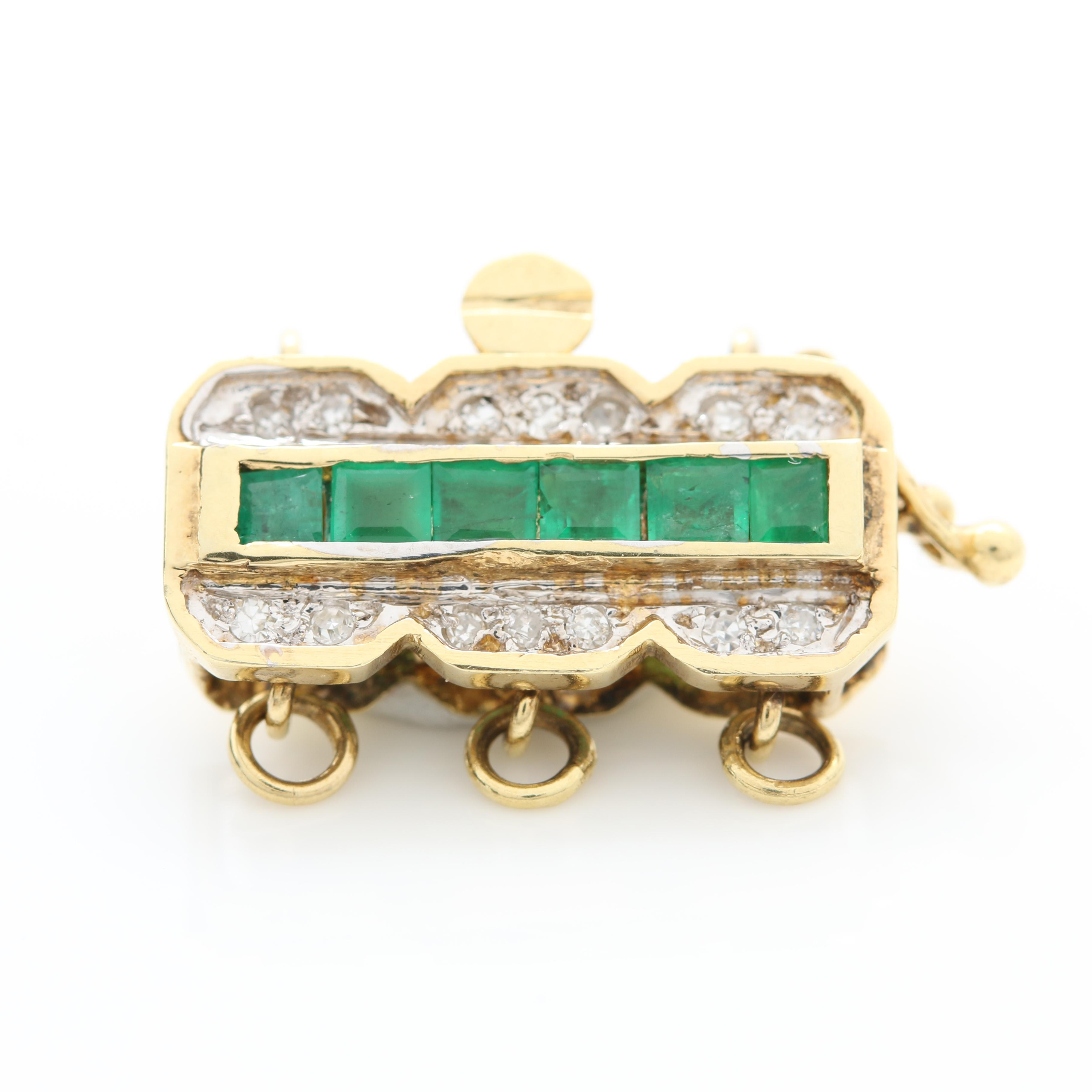 14K Yellow Gold Emerald and Diamond Hidden Box Tab Clasp