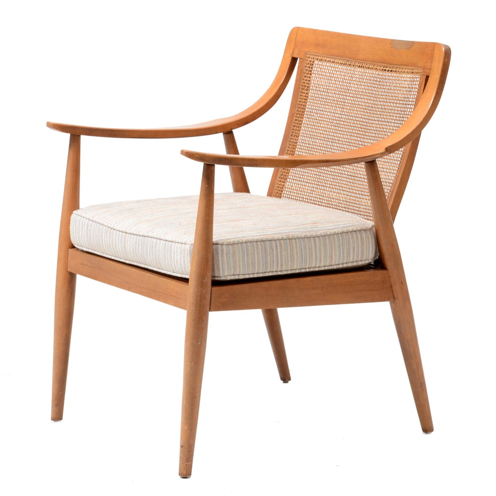 Mid Century Modern Armchair with Caned Back