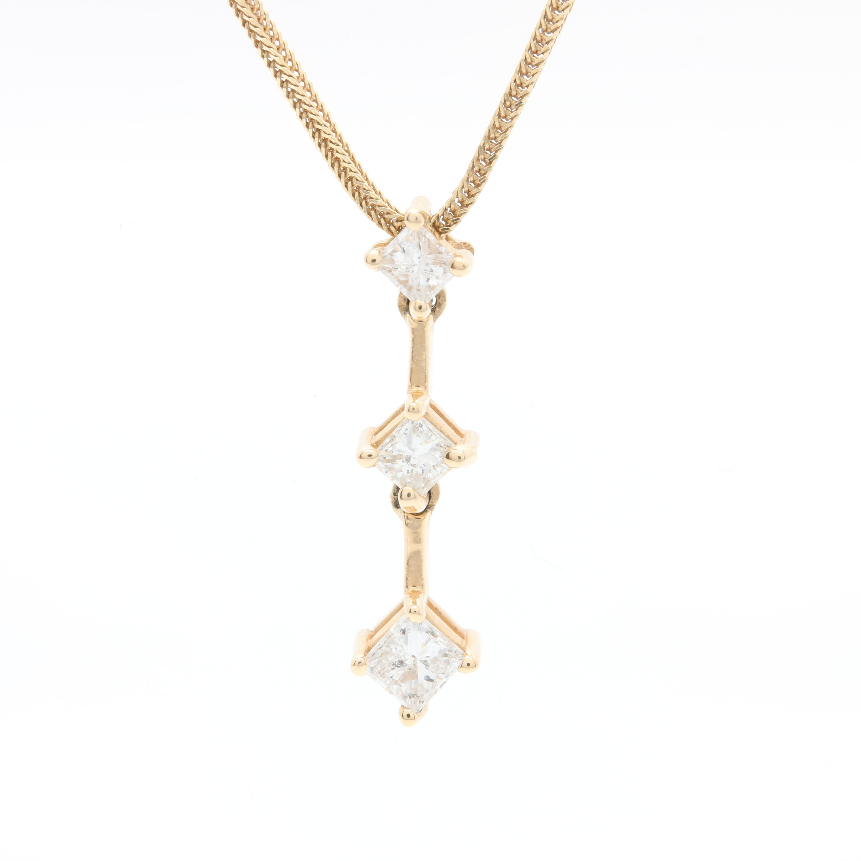 14K Yellow Gold Diamond Drop Pendant Necklace
