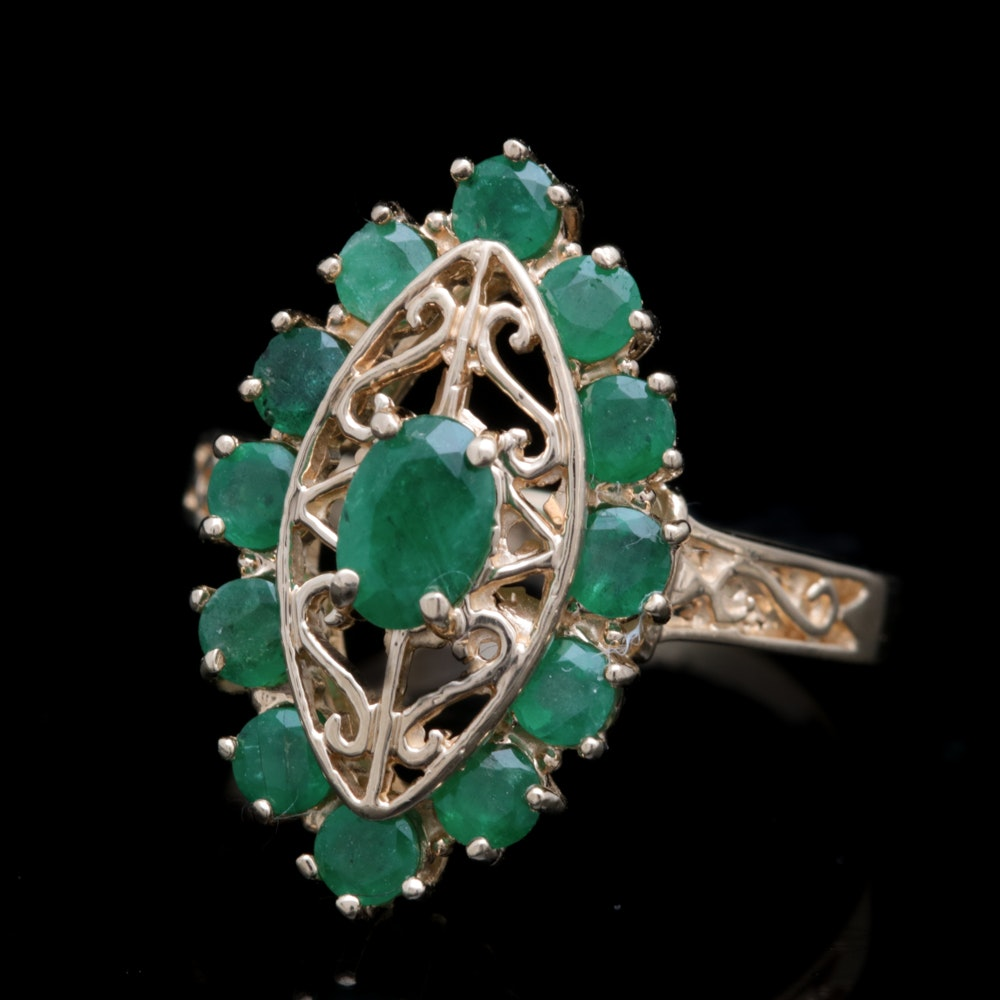 14K Yellow Gold and 1.50 CTW Emerald Ring