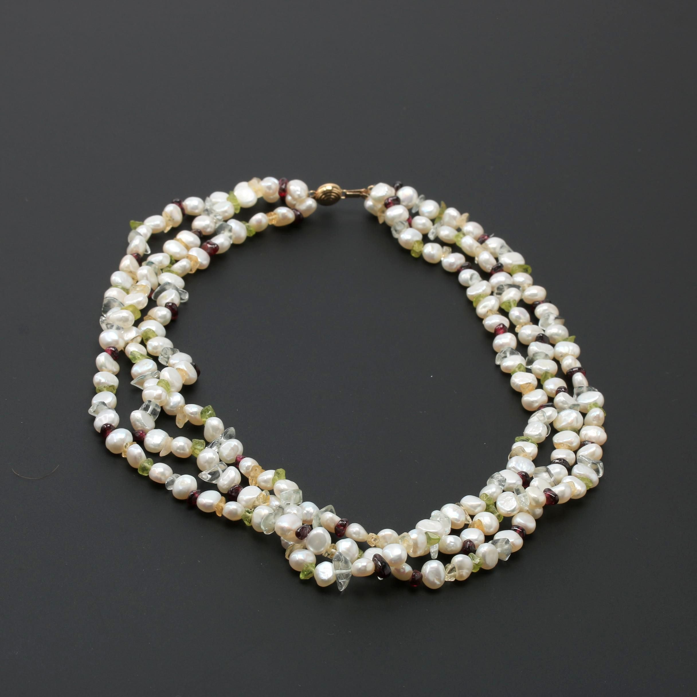 14K Yellow Gold Cultured Pearl and Gemstone Necklace