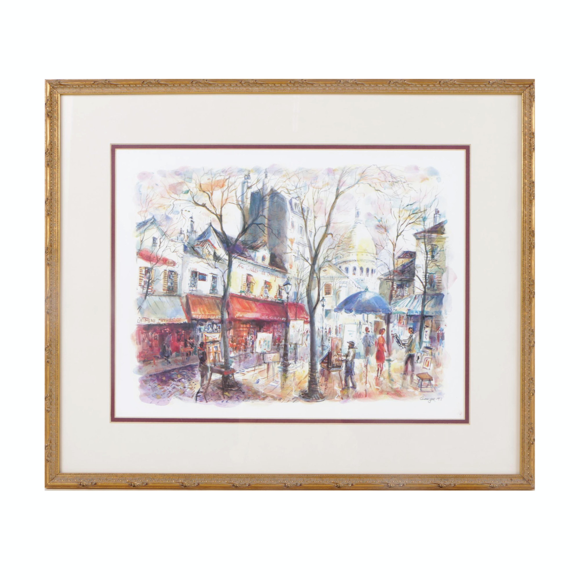 George Offset Lithograph of Street Scene