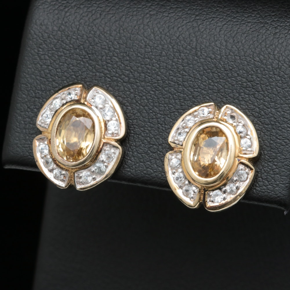 Gold Wash on Sterling Silver, Yellow and White Zircon Earrings