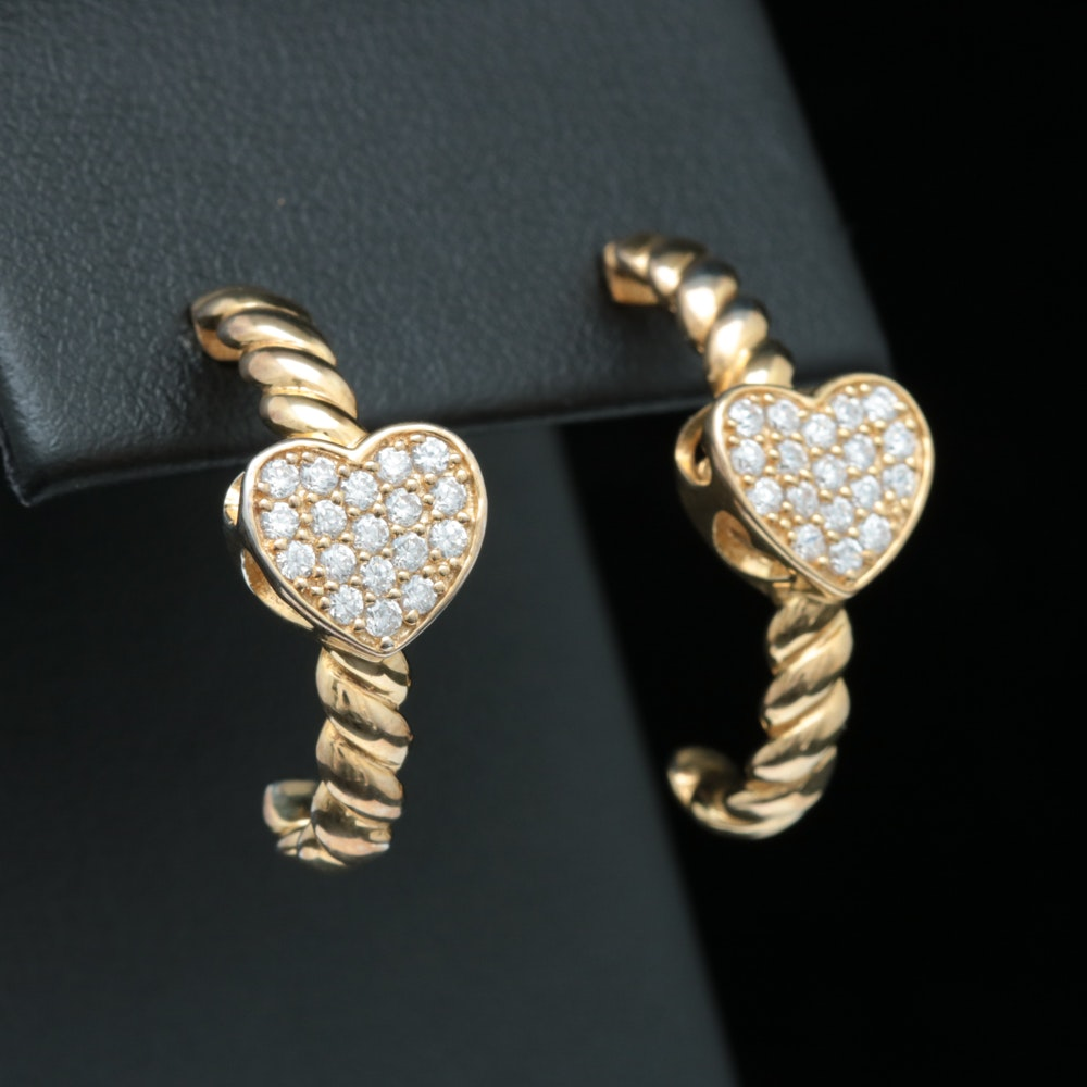Gold Wash on Sterling Silver and White Crystal Earrings