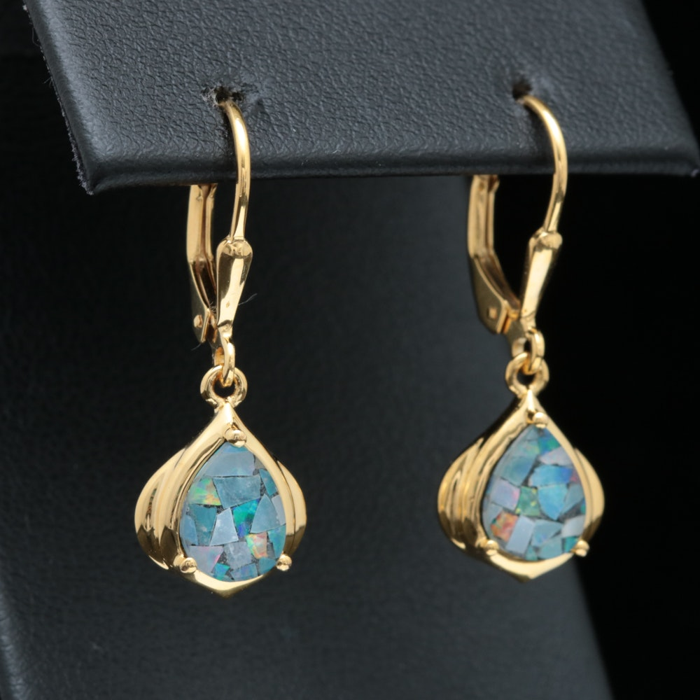 Gold Wash on Sterling Silver and Mosaic Opal Earrings