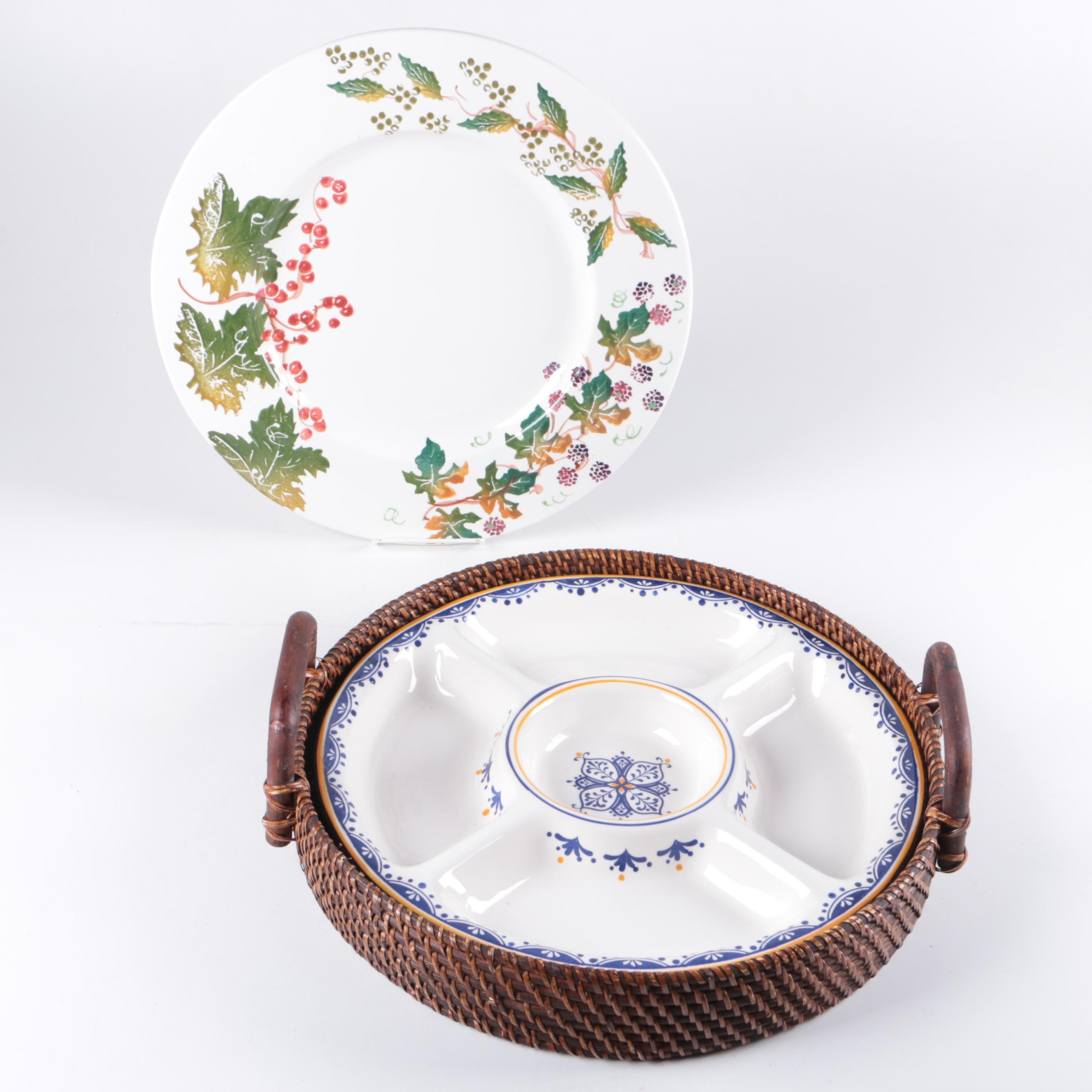 Italian Bizzirri St&ed White Porcelain Dish and Other Serveware ... & Italian Bizzirri Stamped White Porcelain Dish and Other Serveware : EBTH