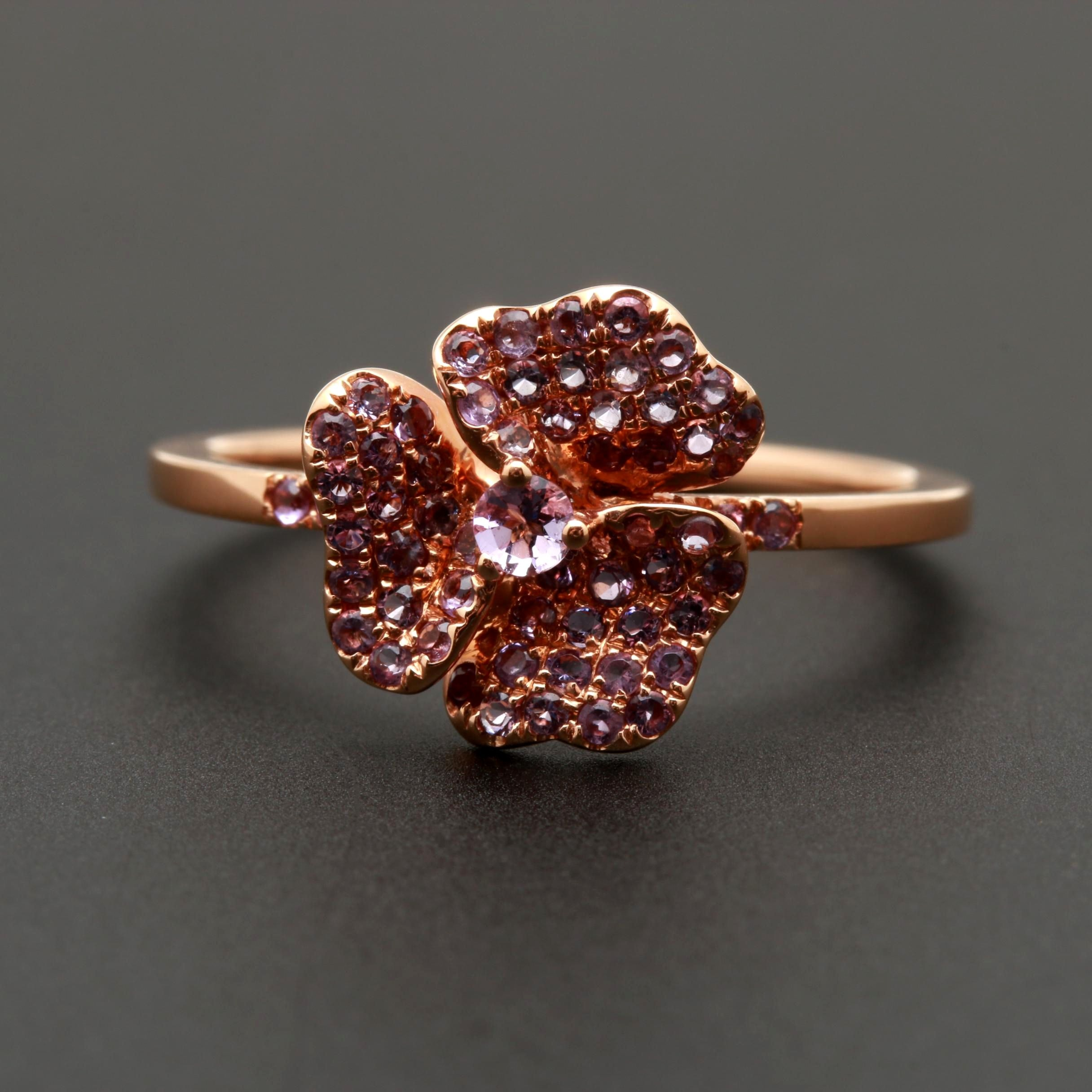 18K Rose Gold Pink Garnet Floral Ring