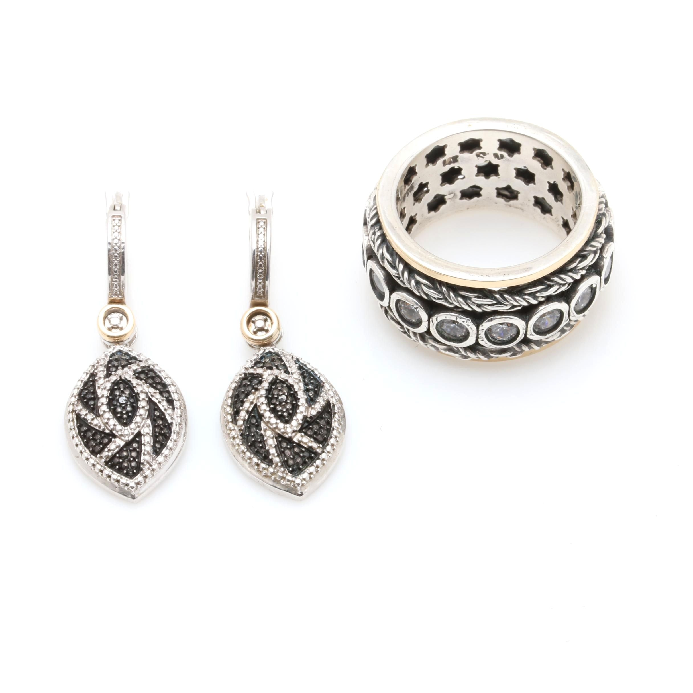 Sterling Silver Jewelry Featuring Black Diamonds and Cubic Zirconia