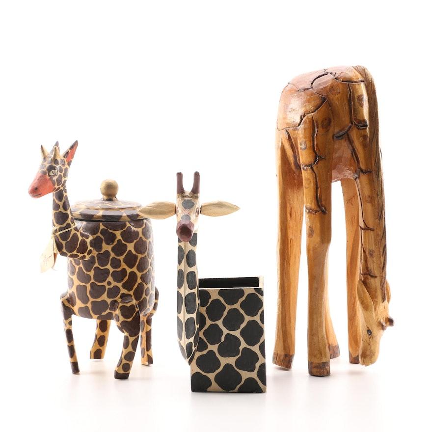 Wooden Giraffe Decor