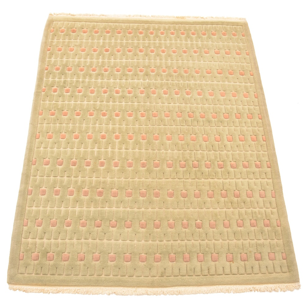 Contemporary Hand-Knotted Nepalese Style Wool Area Rug