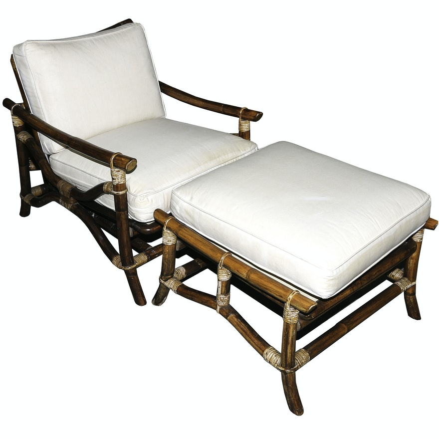 Vintage Quot Far Horizons Quot Rattan Chair And Ottoman By Ficks