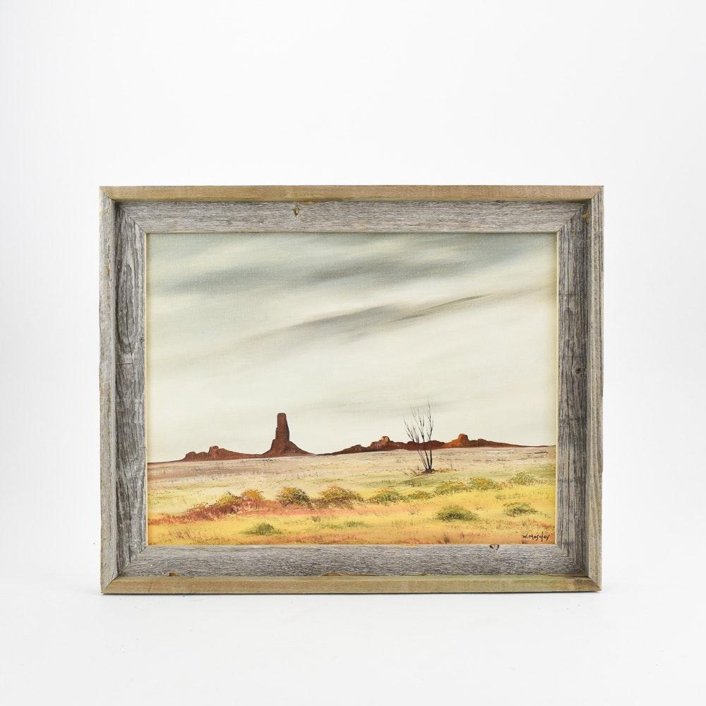 W. Moseley Oil Painting of Desert Landscape