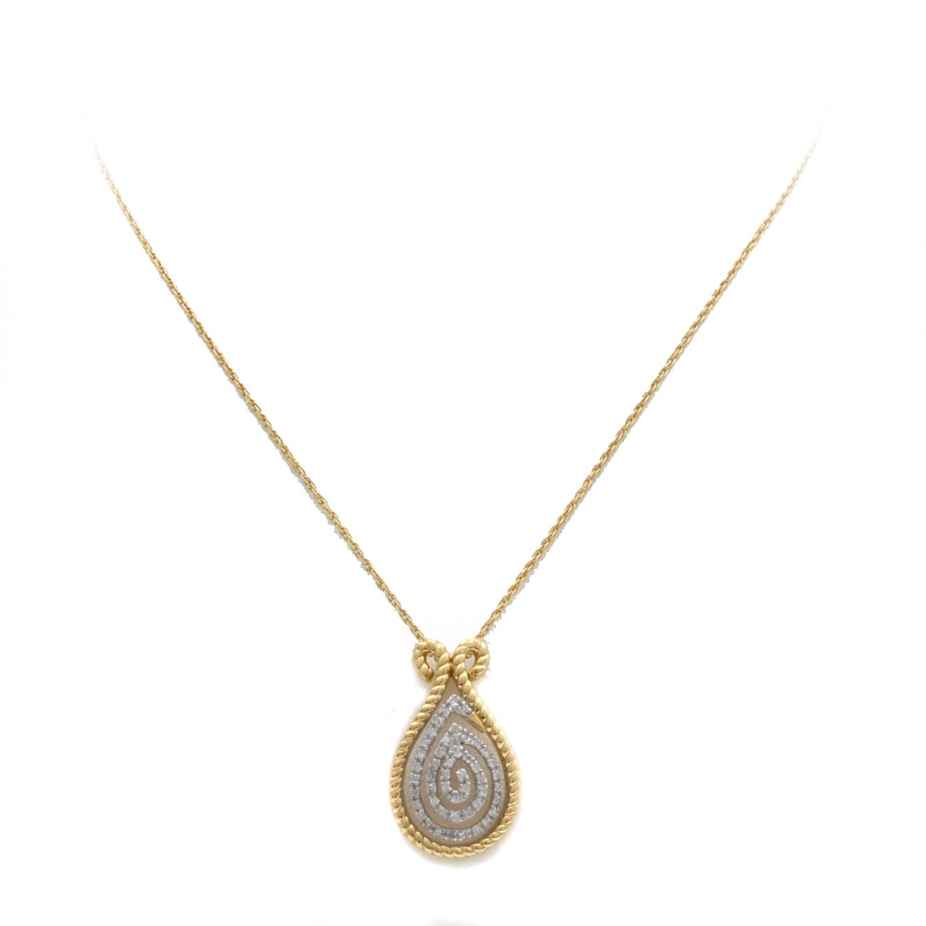 Gold Wash on Sterling Silver Necklace With Diamond Pendant