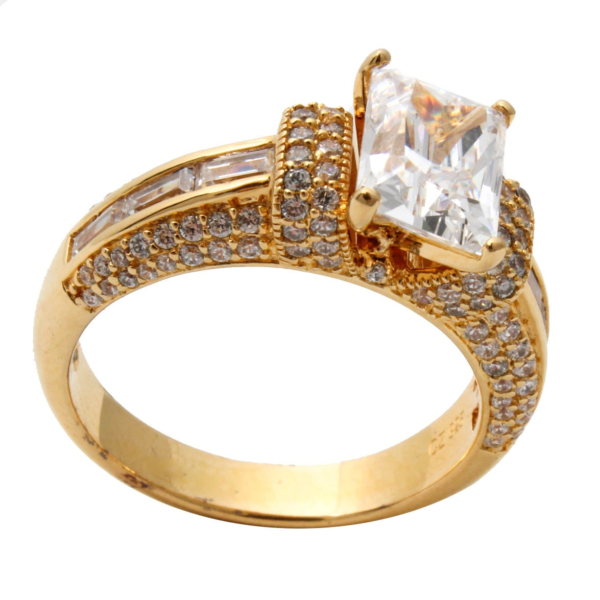Gold Wash on Sterling Silver and Cubic Zirconia Ring