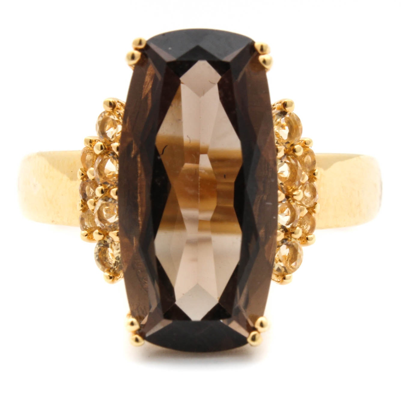 Yellow Gold Wash on Sterling Silver Smoky Quartz and Citrine Ring