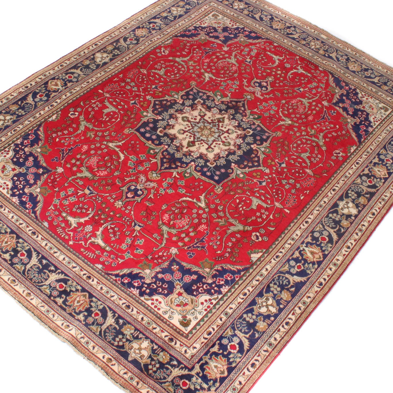 Vintage Hand-Knotted Persian Qum Rug