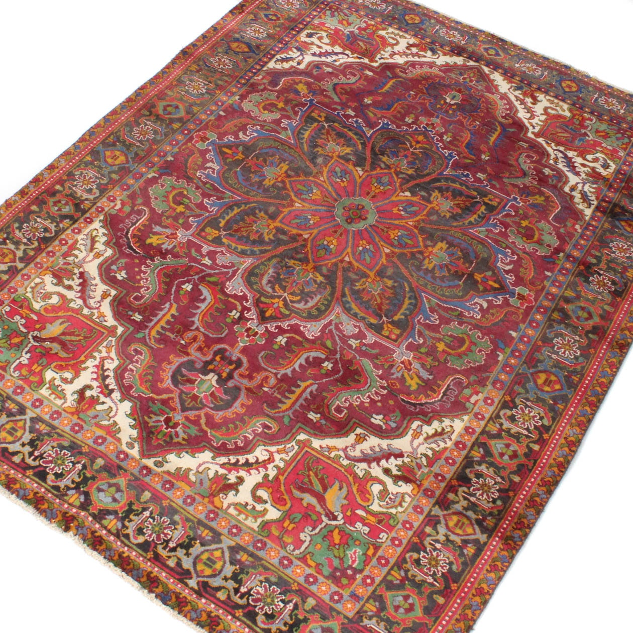 Vintage Hand-Knotted Persian Serapi Heriz Rug