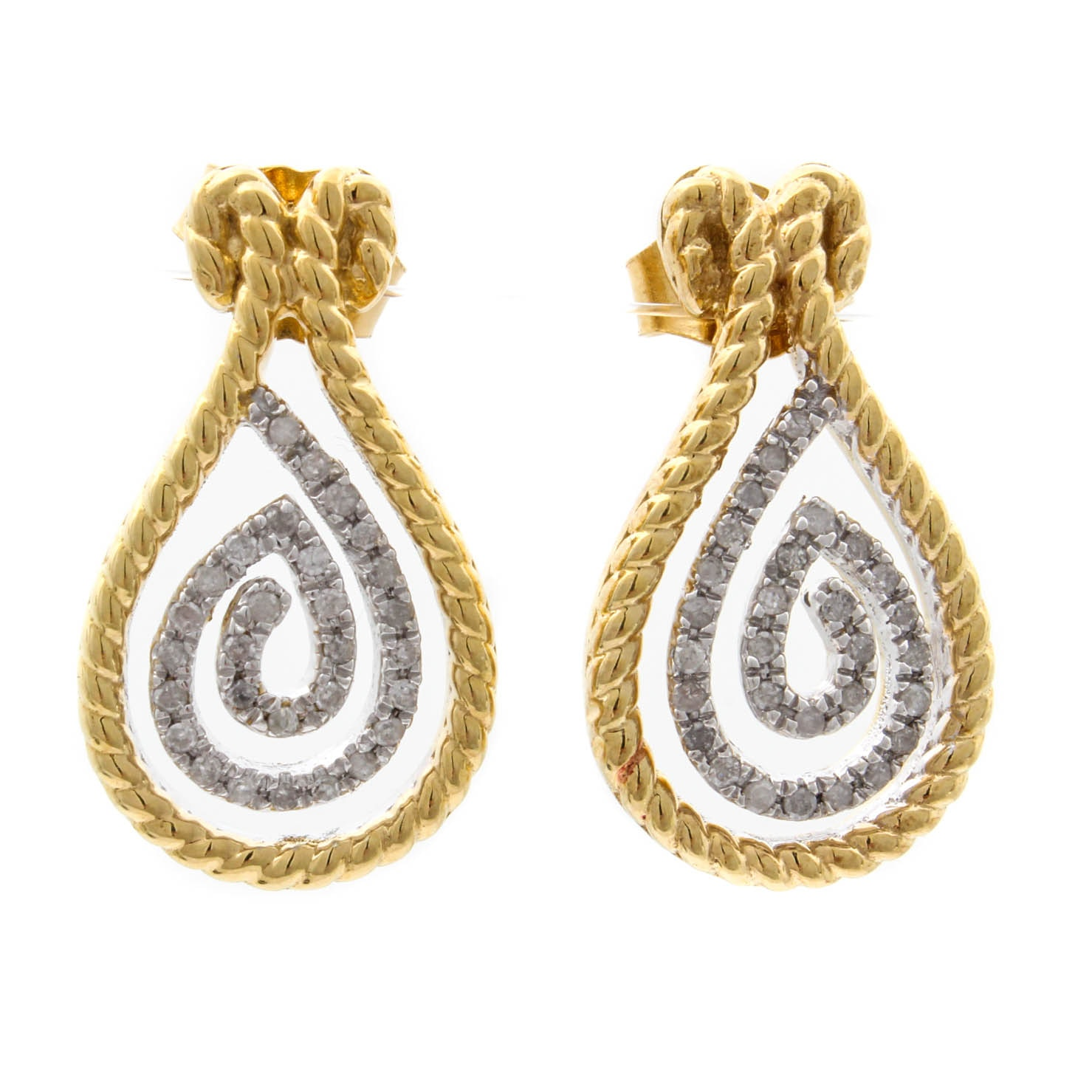 Gold Wash on Sterling Silver and Diamond Earrings