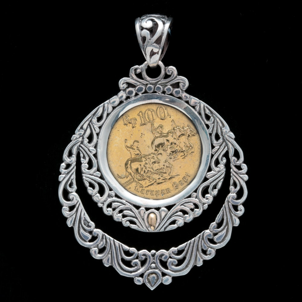 Robert Manse Sterling Silver, 18K Yellow Gold and Rupiah Coin Pendant