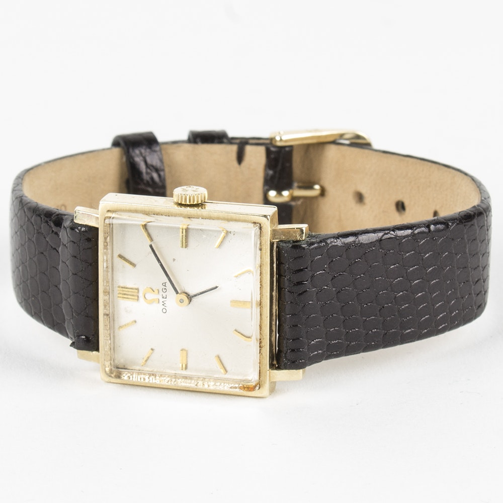 Omega 14K Yellow Gold Wristwatch with Leather Band