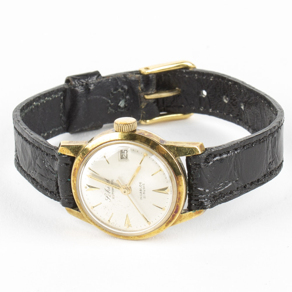 Schild Gold Tone Automatic Wristwatch with Leather Band