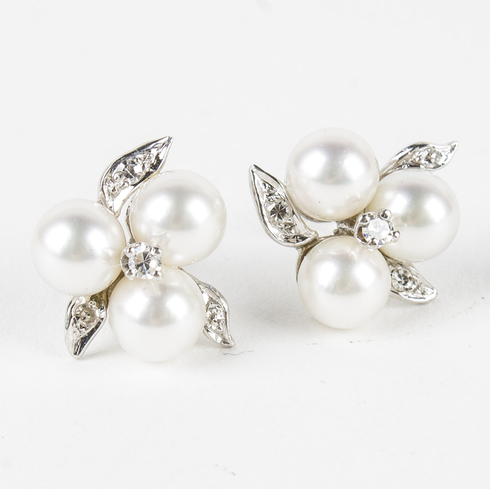 10K White Gold Diamond and Cultured Pearl Stud Earrings