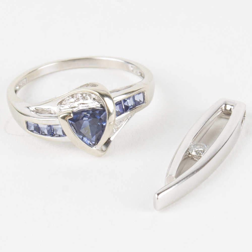 10K White Gold Ring and Pendant with Tanzanite and Diamonds