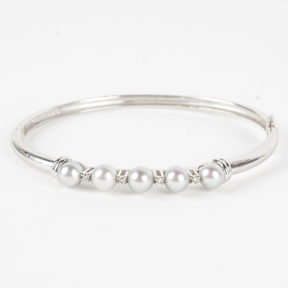Alwand Vahan 14K White Gold Cultured Pearl and Diamond Bangle Bracelet
