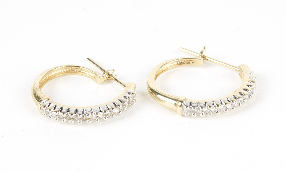 10K Yellow Gold Diamond Hoop Earrings