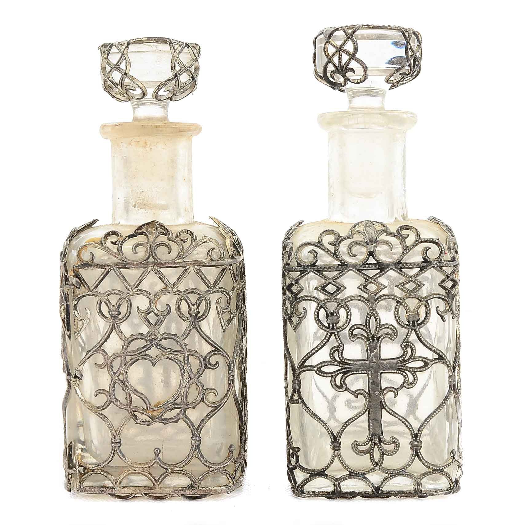 """1890s """"Holy Water"""" Glass Bottles With Silver Wire Finish"""