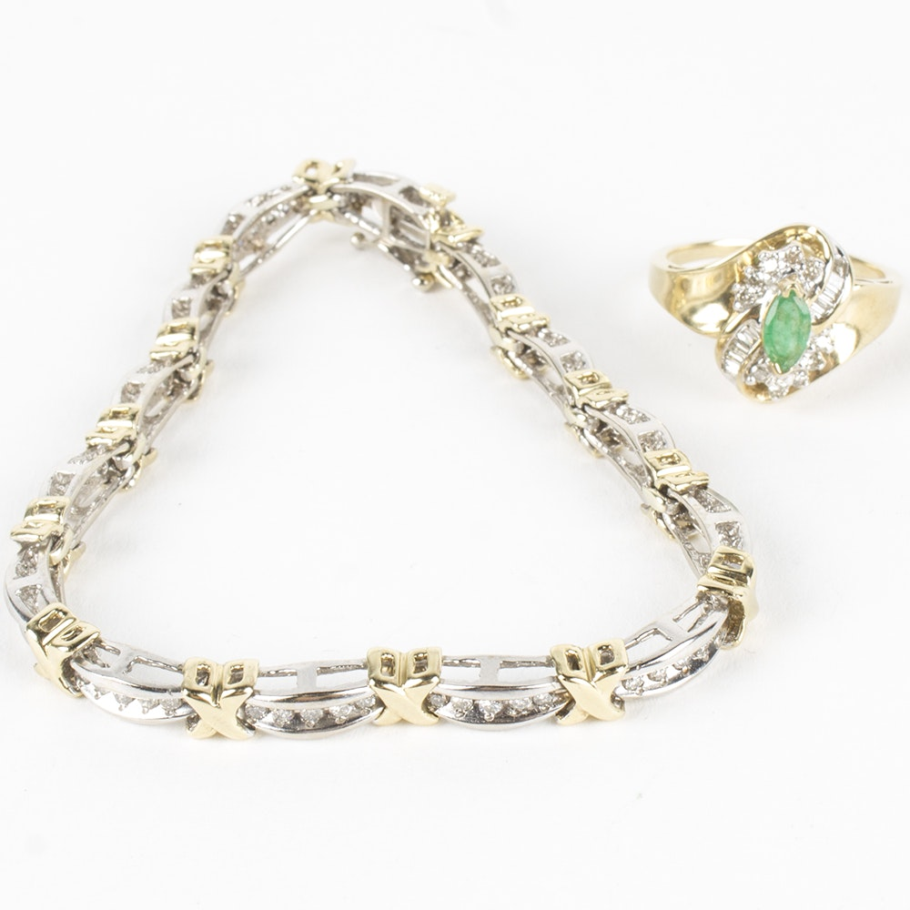 10K Yellow Gold Emerald and Diamond Ring and 0.91 CTW Diamond Bracelet
