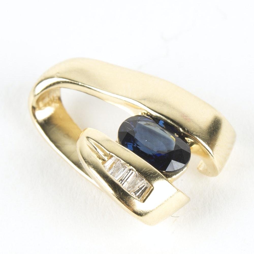 Alwand Vahan 14K Yellow Gold Sapphire and Diamond Slide Pendant