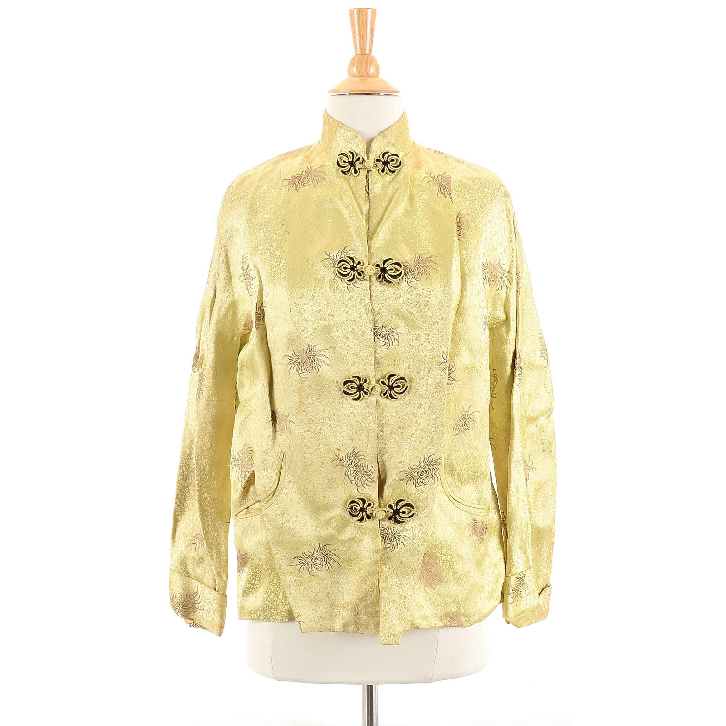 Vintage Chinese Yellow Silk Brocade Jacket with Spider Mum Motif