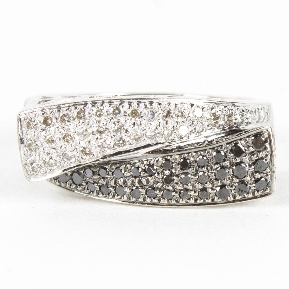 14K White Gold White and Black Diamond Ring